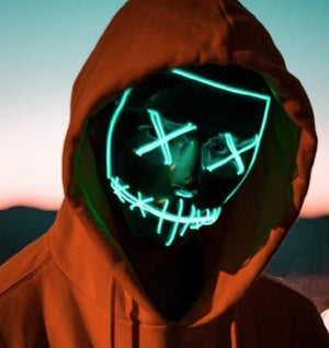 "Light-Up LED Mask ""Purge"" Halloween Costume"