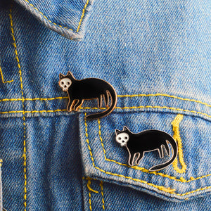 Skull-Faced Cat Pin
