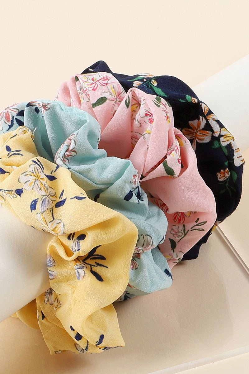 Flower Print Hair Scrunchies