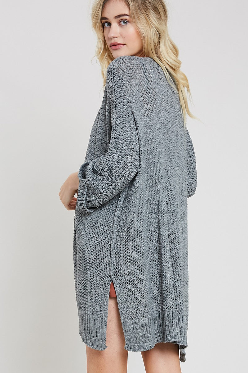 Hooked on You Cardigan - Grey