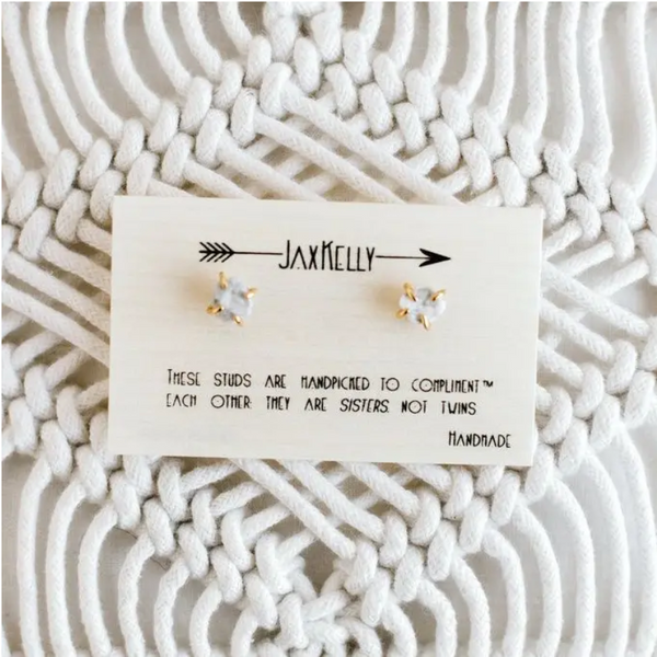White Howlite Gemstone Prong Earrings