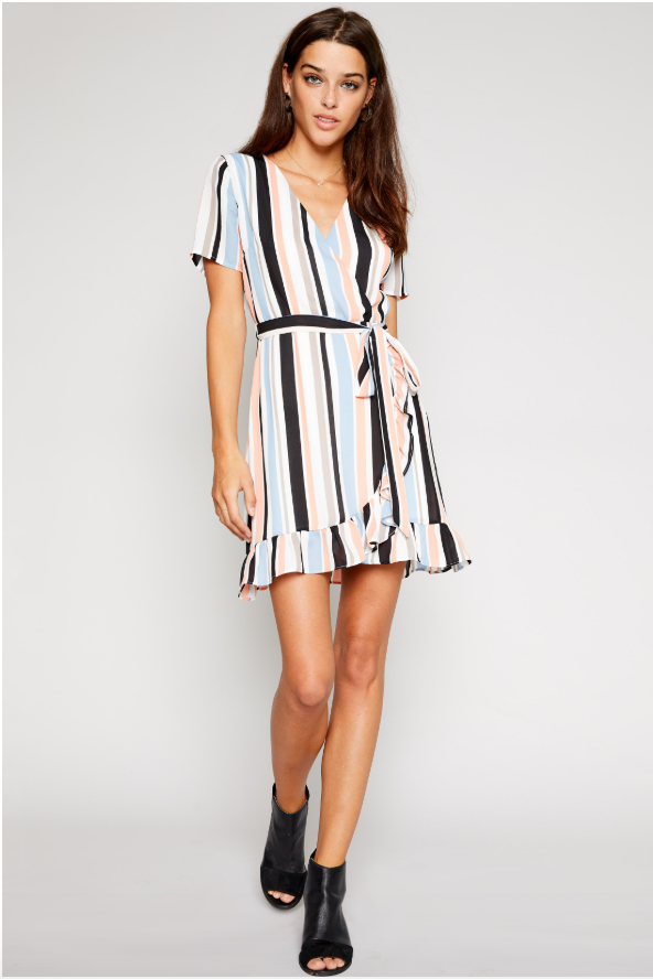 Natalie Striped Wrap Dress