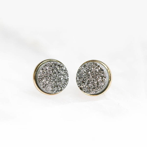 Silver Druzy Clusters Earrings