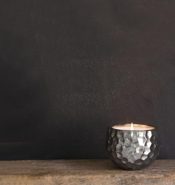 Wildflower Small Silver Dimpled Candle