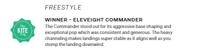 Eleveight Commander The Kite Mag Ultimate Test Freestyle Kiteboard Winner