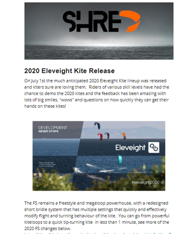 Shred Kiteboarding 2020 Eleveight Kites Newsletter - Preview
