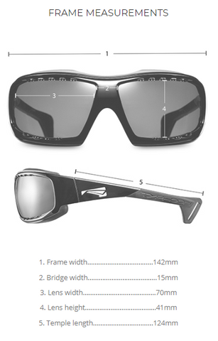 Lip Typhoon Sunglasses | Best Watersports Shades | Sizing measurement specs
