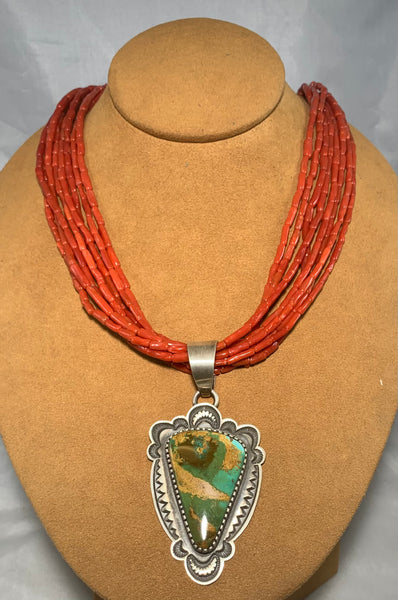 Coral With Turquoise Necklace by Tommy Jackson