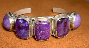 Five Stone Charoite Cuff by Don Lucas