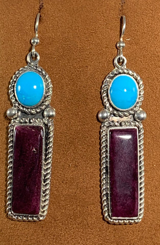 Rectangle Sugilite Turquoise Earrings by Albert Lee