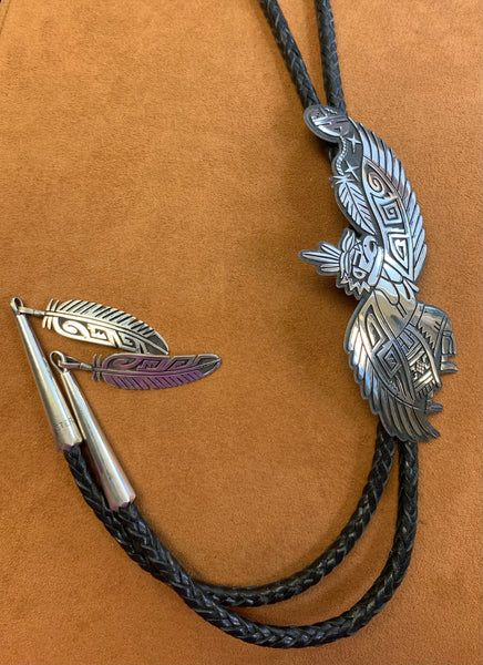 Hopi Eagle Dancer Overlay Bolo Tie by Saufkie Family