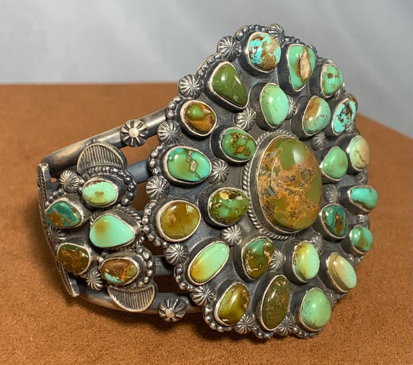 Green Bisbee Turquoise Cluster Cuff by Tommy Jackson