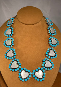 Mother of Pearl Turquoise Necklace by Federico Jimenez