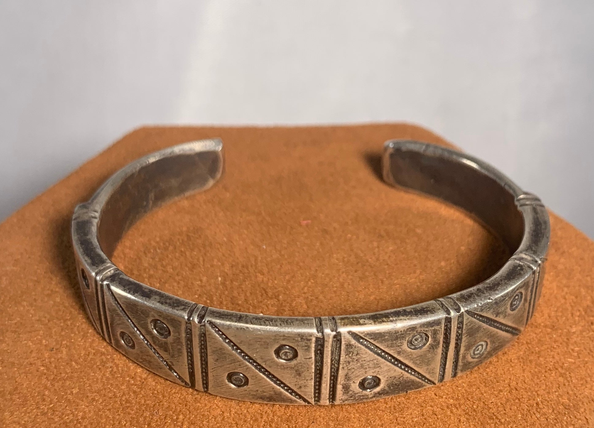 Geometric Sterling Silver Stamped Bracelet by Jock Favour