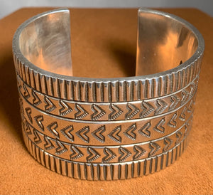 Stamped Silver Cuff by Albert Lee