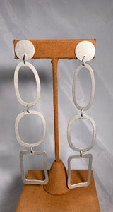 Long Geometric Drop Earrings by Gloria Sawin