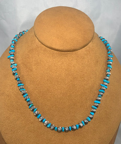 Diamond Cut Navajo Pearl with Blue Turquoise Necklace by First American