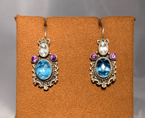 Aquamarine and Amethyst Earring by Aldrich Arts