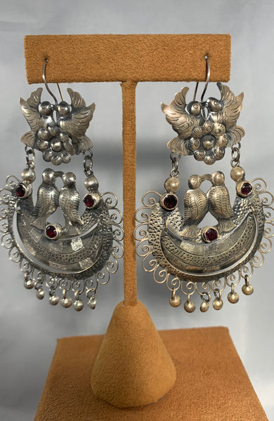 Oaxacan Love Bird Garnet Earrings (Federico Jimenez)