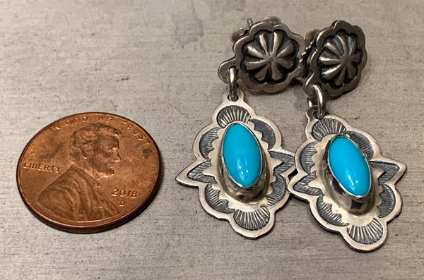 Sleeping Beauty Turquoise Stamped Silver Earrings by Don Lucas