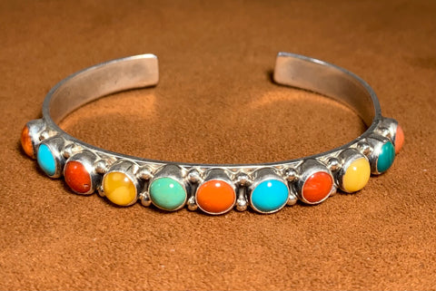 Multi-Stone Colorful Cuff by Don Lucas
