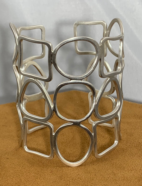 Geometric Sterling Silver Cuff by Gloria Sawin