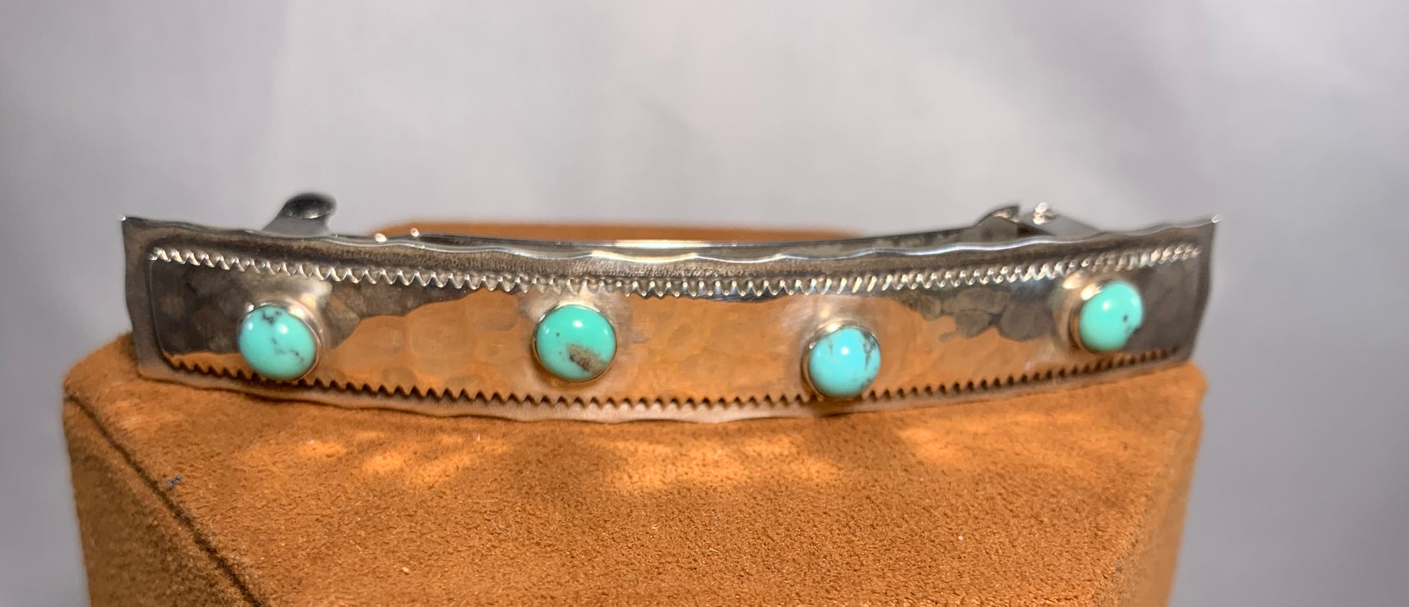 Sterling Silver Turquoise Barrette by Clif Doran