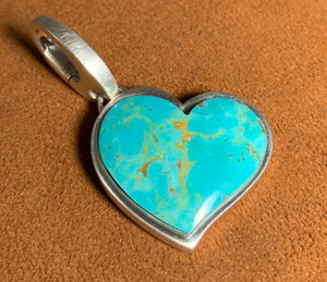 Medium Tyrone Turquoise Heart Pendant by Gloria Sawin