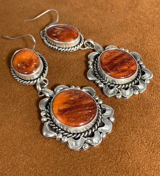 Orange Spiny Oyster Earrings by First American Traders