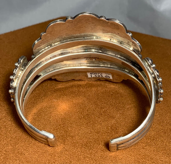 Star Stamped Large Sterling Silver Cuff by Don Lucas