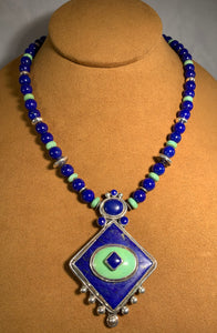 Lapis and Turquoise Necklace by Hal And Margie Hiestand