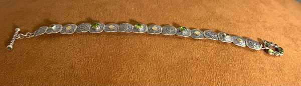 Gold, Peridot and Silver Concho Bracelet by Emory