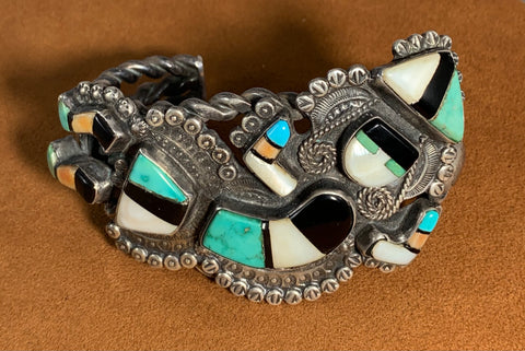 Vintage Zuni Rainbow Man Cuff by Mary Kallestewa