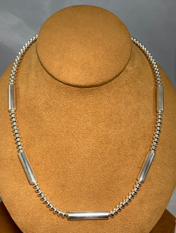High Polish Navajo Pearl Tube and Bead Necklace by Veltenia Haley