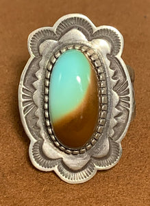 Two-tone Turquoise Ring by Tommy Jackson