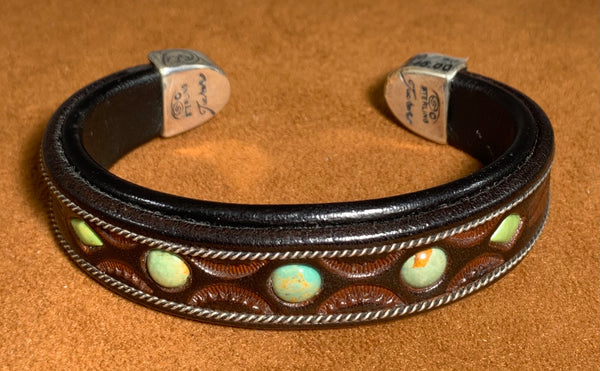 Turquoise Leather Cuff by Jerry Tucker