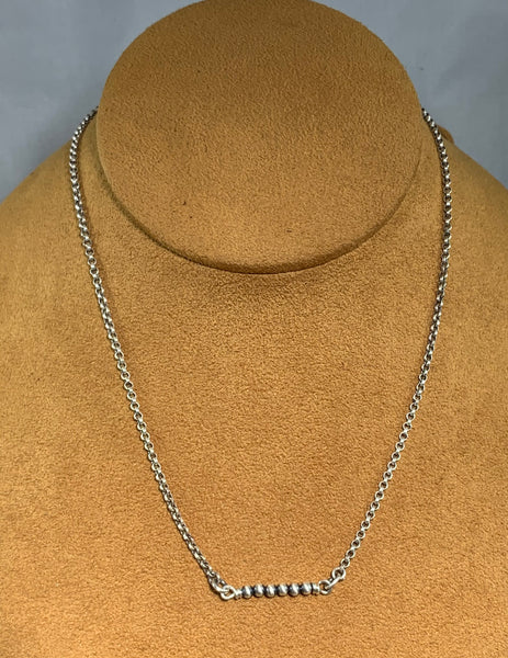 Small Silver Bead Bar Necklace by Kevin Randall Studios