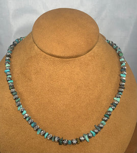 Diamond Cut Navajo Pearl with Turquoise Necklace by First American