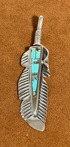 Turquoise Inlay Feather Pendant by First American Traders