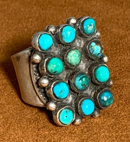 Nine Stone Turquoise Ring by Jock Favour