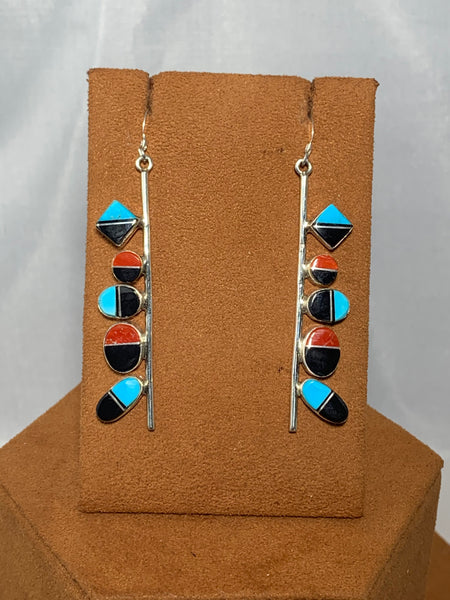 Inlay Dangle Earrings by First American Traders