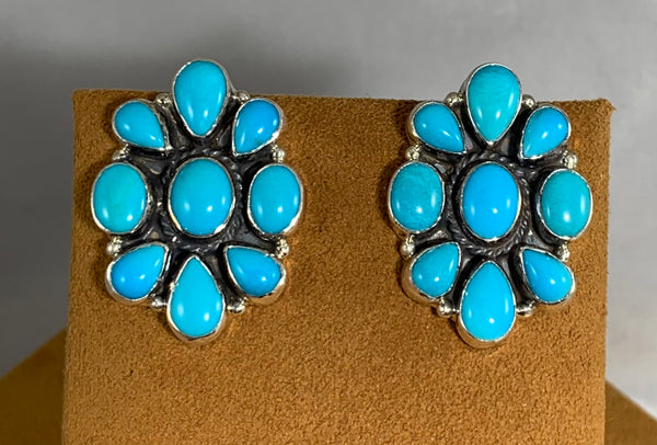 Turquoise Cluster Earrings by Don Lucas