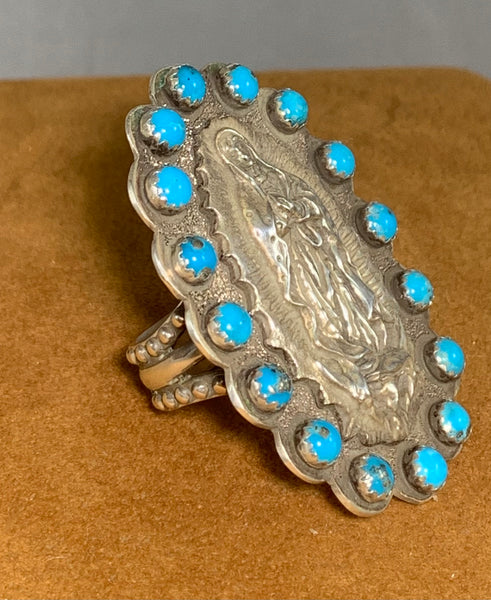 Our Lady of Guadalupe Long Turquoise Ring by Gregory Segura