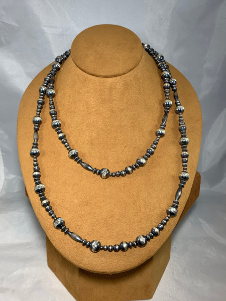 Navajo Silver Bead Necklace by First American Traders