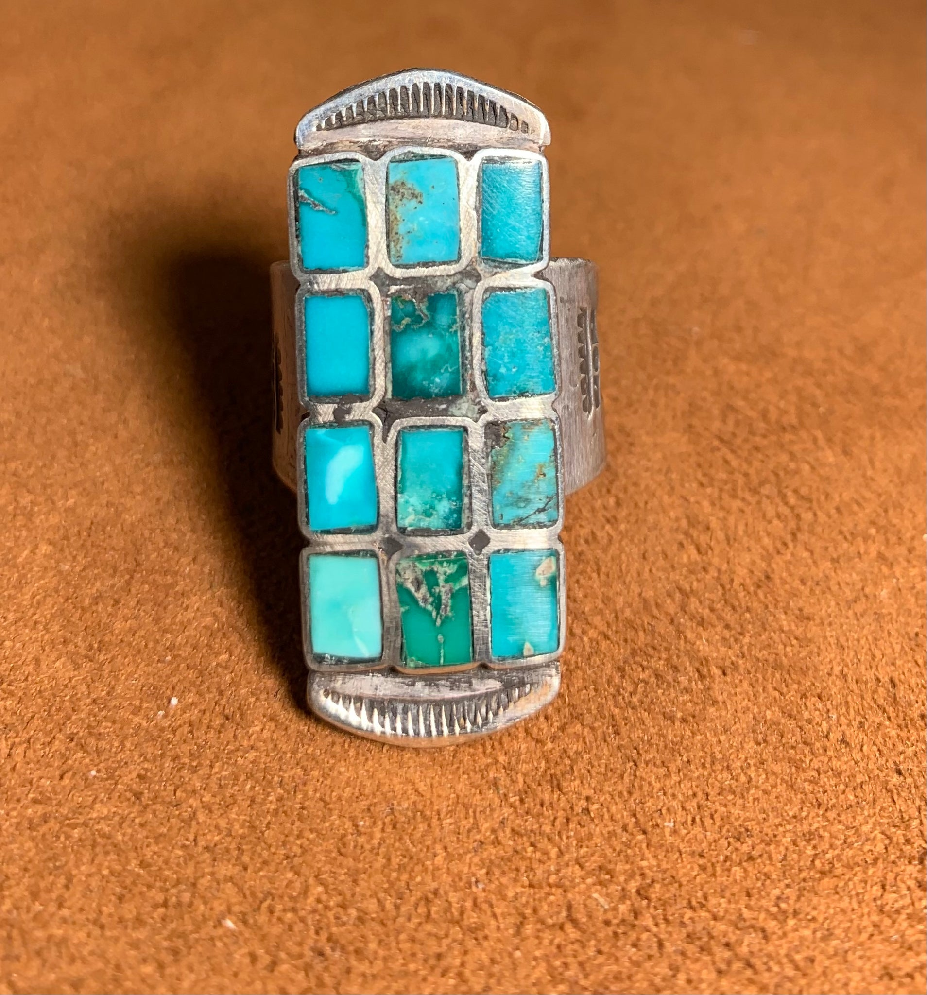 Long Inlay Turquoise Ring by Jock Favour
