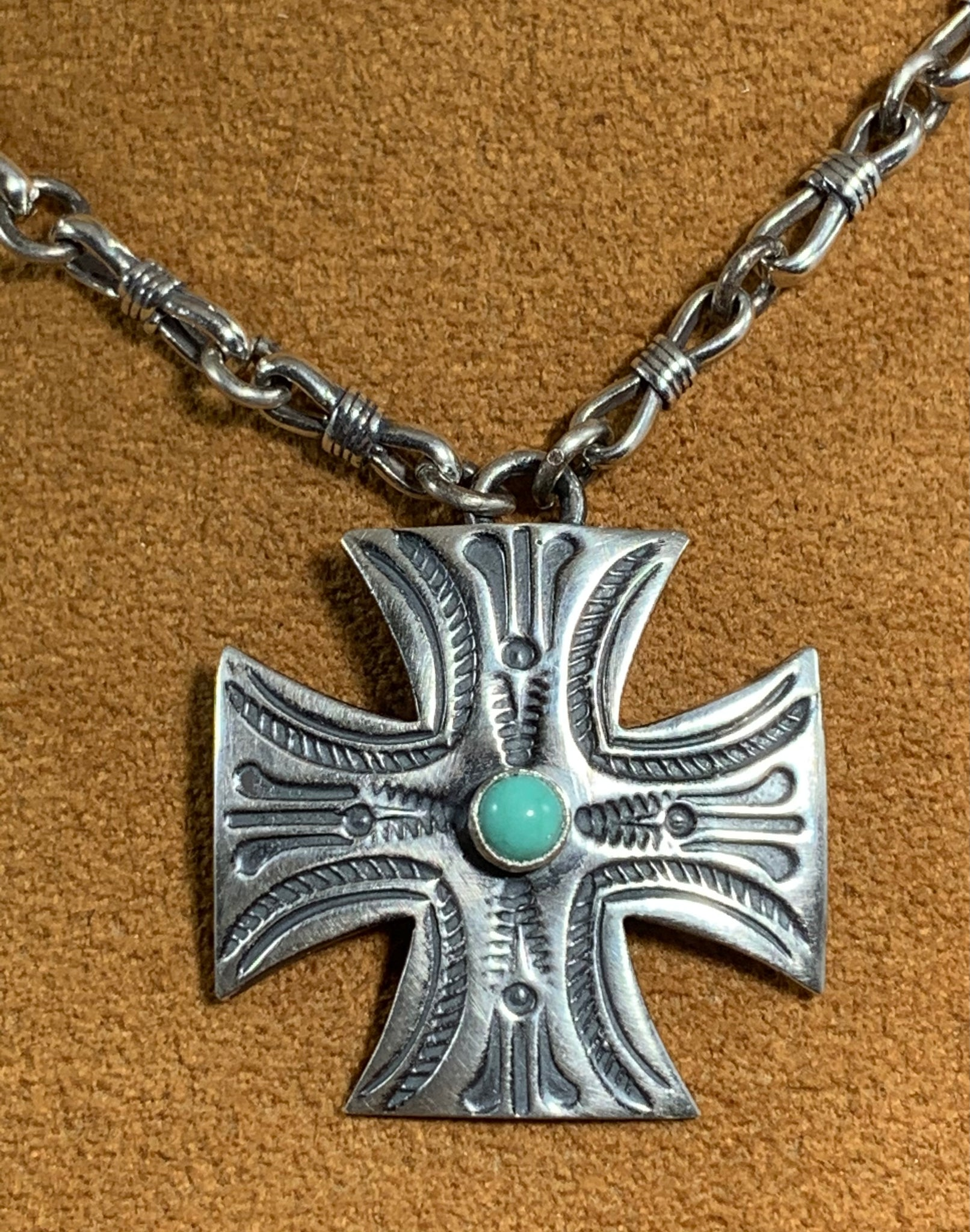Stamped Cross on Silver Chain by Kevin Randall Studios