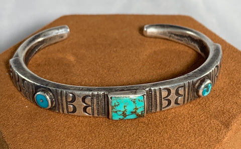Sterling Silver Turquoise Cuff with Vintage Trade Beads by Jock Favour