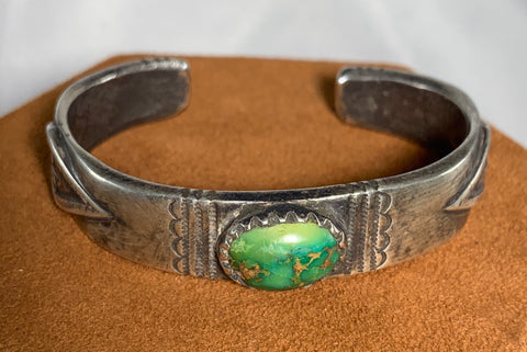 Green Royston Turquoise Stamped Cuff by Jock Favour