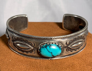 Stamped Sterling Silver Cuff with Oval Turquoise Stone by Jock Favour