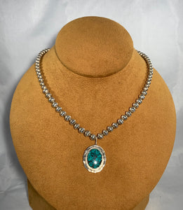 Turquoise Necklace on Sterling Silver Beads by Clif Doran